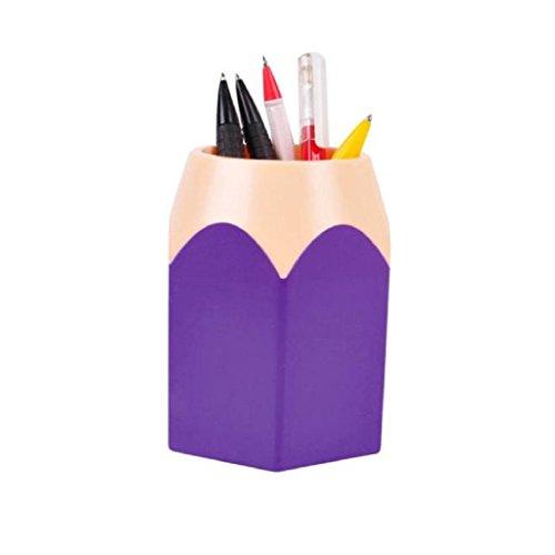 Oksale® Makeup Brush Vase Pencil Container Pot Pen Holder Stationery Storage Organizer (Purple)