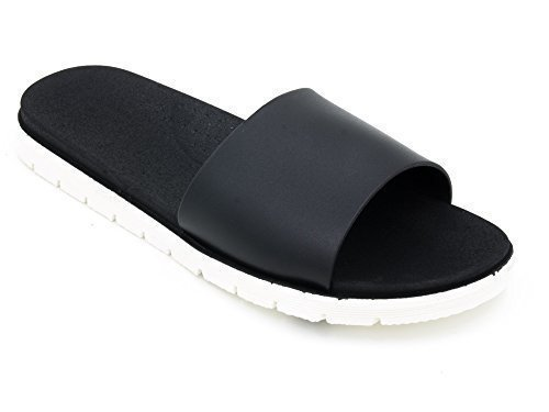Damen Zweiton PVC-Pool / Shower Sandalen ~ Schwarz oder Rosa (UK 8 / GR. 41, schwarz & weiß)