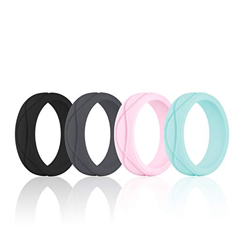 Elegance 4 Light - SANXIULY Womens Silicone Ring&Rubber Wedding Bands for Workout and Sports Width 5mm Pack of 4 Size 4
