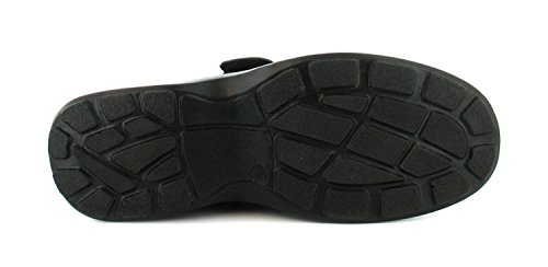 New Mens/Gents Touch Fastening Comfort Fit Shoes. Wider Fitting. - Black - UK SIZES 6-12 0lACJe