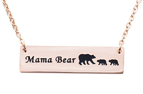 ELOI Mama Bear Necklace Cubs Stainless Steel Bar Pendant Mother's Day Gift Ideas Gifts for Mom Grandma