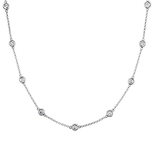Voss+Agin 14K White Gold 1.00CTW Genuine Diamond by The Yard Bezel-Set 10 Station Strand Necklace, ()