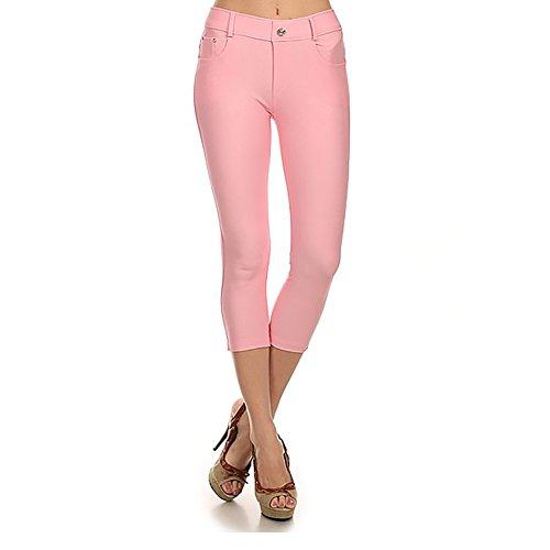 Faded Glory Capri Jeans - Yelete Women's Stretchy Skinny Jeggings Shorts & Capri Pull On Style Light Pink