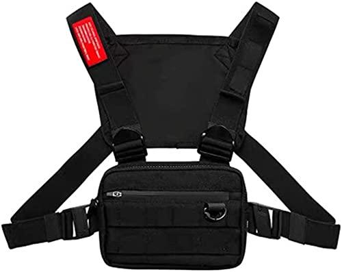 CFeng Borst Rig Bag, Multifunctionele Harnas Borst Taille Pack Bags, Hip Hop Fashion Borst Front Bag Borst Tas voor man