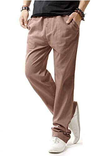 Hoerev Men Casual Beach Trousers Linen Jean Jacket Summer Pants,Brown,S