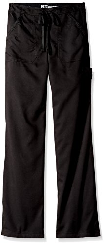 Grey's Anatomy Women's Junior Fit 4-Pocket Elastic Back Scrub Pants, Black, X-Small/Tall