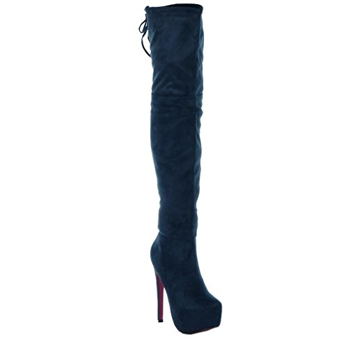 Thigh Stiletto Angkorly stiletto Shoes 15 CM Blue Fashion Women's laces sexy Boot platform U1qFtw