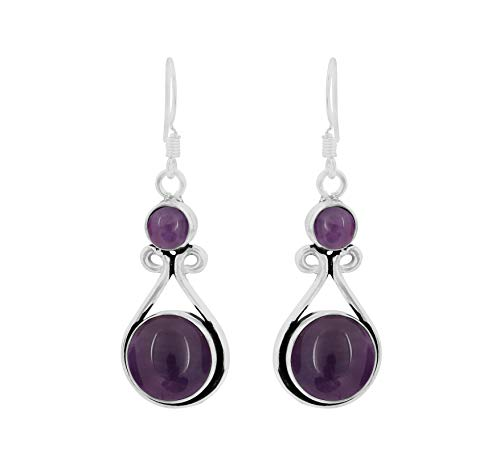15.00ctw, Genuine Amethyst & 925 Silver Plated Dangle Earrings Made By Sterling Silver Jewelry