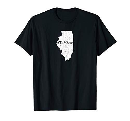 - Illinois Teacher Home State Map pride School T Shirt