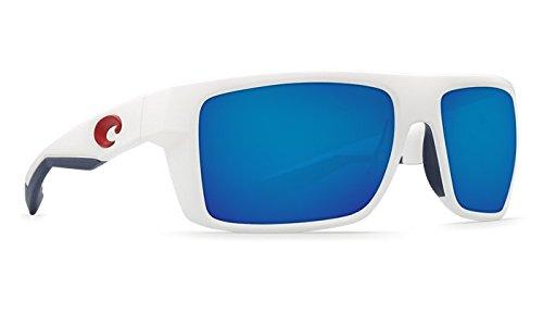 Costa Del Mar Motu Sunglasses USA White Frame Blue Mirror 580Plastic - Mar Del Blue Costa Frame