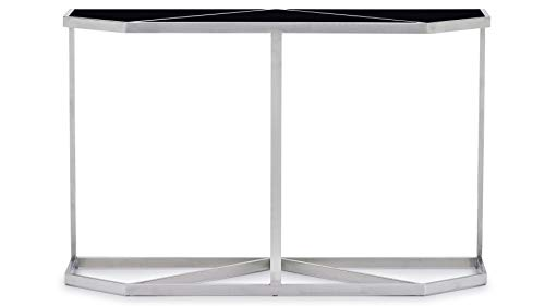- Zuri Furniture Modern Plaza Console Table - Black Opaque Glass with Brushed Stainless Steel Base