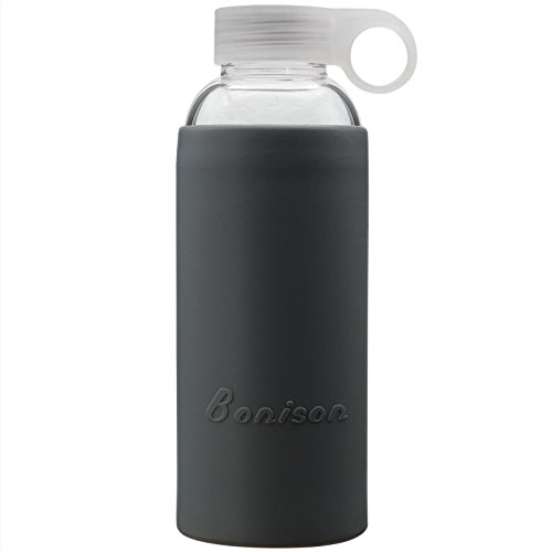 Summer Sale- Bonison Durable Glass Water Bottle with Soft Colorful Silicone Sleeve Handle Lid 14 Oz Grey (Milk Storage Bottles Freezer compare prices)