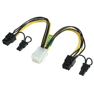 PCI-Express Dual 8-Pin (6+2 Pin) Y-Splitter Power Adapter Converter Cable from 1x 6-Pin PCI-E for Gaming Video Cards: CABLEHERO-PCIE003