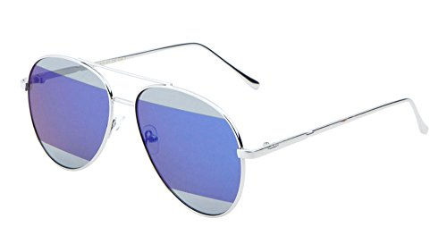 Large Aviator Sunglasses Flat Lens Two Tone Color Mirror Lens Mod Runway Fashion (Silver/Blue, - Tone Sunglasses Two