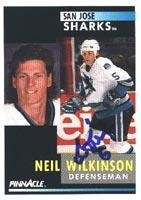 - Neil Wilkinson San Jose Sharks 1991 Pinnacle Autographed Card. This item comes with a certificate of authenticity from Autograph-Sports. Autographed
