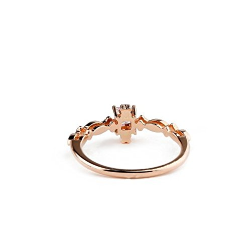 GOWE Square Shape 0.27CT Natural Pink Sapphire Gemstone Diamond Accents 18k Rose Gold 1