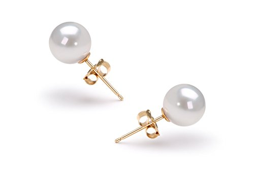 Blanc 6.5-7mm AAA-qualité Akoya du Japon 585/1000 Or Jaune-Boucles d'oreilles en perles
