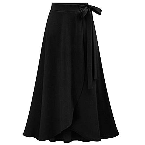 TOPUNDER Maxi Skirts for Women Solid Flare Hem High Waist Midi Skirt Sexy Pleated Skirt (XX-Large, 01 Black)