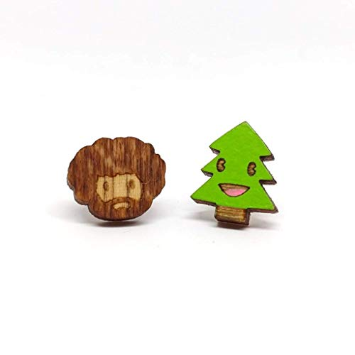 (Painter and Happy Friend Earrings - Handmade in the USA, Laser Cut Wood)
