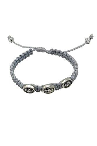 MedjugorjeStoneGifts Miraculous Medal Bracelet/Virgin St Mary Bracelet/Silver Adjustable Cord - Lady Miraculous Medal