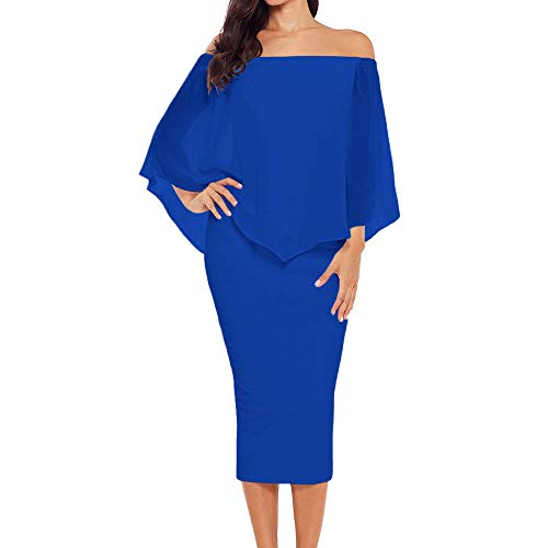 ��s Off The Shoulder Bodycon Midi Dress Layered Chiffon Ruffled Party Dress for Women (Blue, X-Large) ()