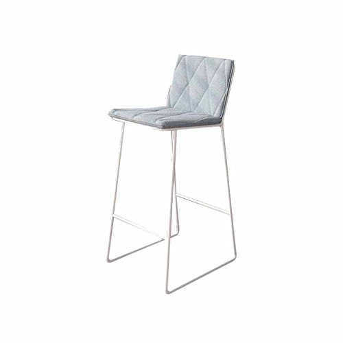(Bar Stool Chair Metal Simple Home Kitchen Counter Tall Chairs Front Desk Stools High Backs Footrest Café Furniture Northern Europe Load 150Kg (Color: White + Gray) (Sitting Height)