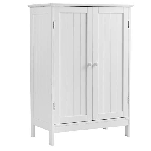 Tangkula Bathroom Floor Cabinet, Wooden Floor Storage Cabinet, Living Room Modern Home Furniture Free Standing Storage Cabinet, 23.5x14x34 inches (Living Cabinet Room Modern)