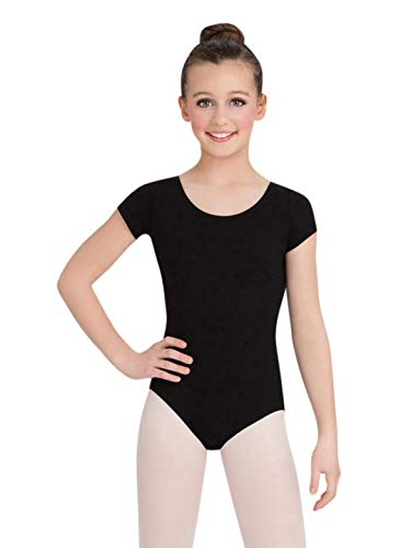 Capezio Big Girls' Classic Short Sleeve Leotard,Black,L (12-14) -