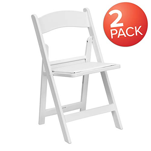 (Flash Furniture 2 Pk. HERCULES Series 1000 lb. Capacity White Resin Folding Chair with White Vinyl Padded Seat)