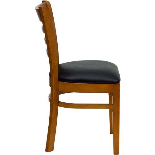 Flash Furniture HERCULES Series Ladder Back Cherry Wood Restaurant Chair - Black Vinyl Seat