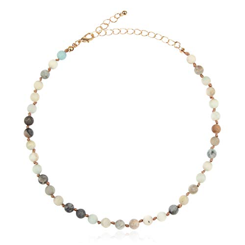 (RIAH FASHION Bohemian Natural Genuine Stone Bead Strand Necklace - Multi Layer Statement, Single Simple Adjustable Choker (Single Strand - 6mm Amazonite))