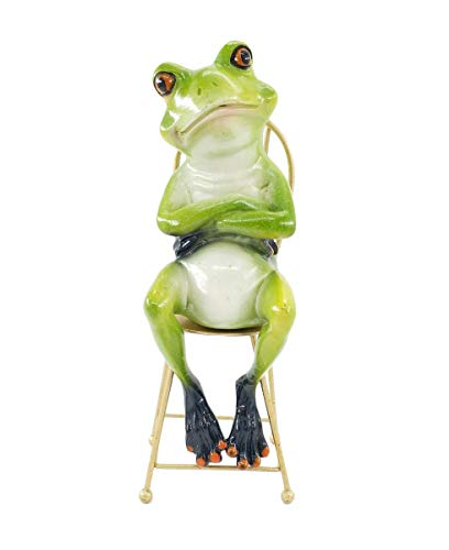 (Creaive Green Frog Statue,Funny & Cute Frogs Statues and Figurines,The Thinker Statue for Home Living Room Desk Decorations (Thinking))