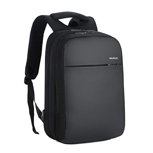 MEINAILI Travel Computer Backpack, Business Laptop Backpack with USB Charging Port,Water Resistant Computer Bag Fits Computer up to 15.6-inch for Man and Woman, Nylon Cloth, Black