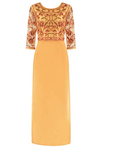 MANER Women Chiffon Beaded Sequin 3/4 Sleeve Long Gowns Prom Evening Bridesmaid Dress (M, Turmeric Gold/Red)