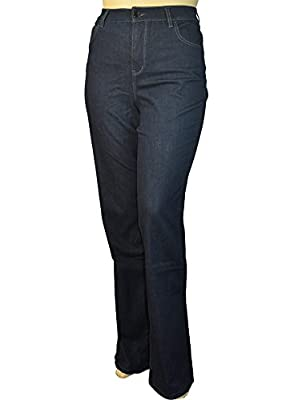 Alfa Global Women's Plus Size Tall Tummy Control Bootcut Delux Stretch Denim Pants