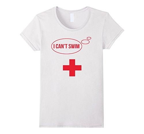 Womens Funny I Can't Swim - LifeGuard Pool Boy Parody T-Shirt Medium (Lifeguard Halloween Costume Kids)