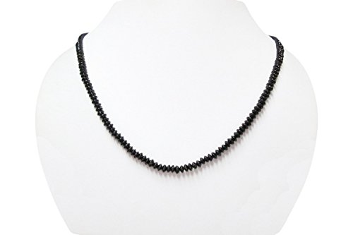 Natural Black Spinel Saucer Beads Necklace with 925 Sterling Silver findings 16