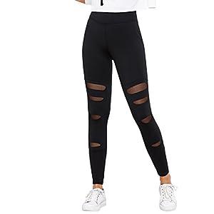 SweatyRocks Legging Women Grey Knit Mesh Insert Ripped Tights Yoga Slim Pants Black M
