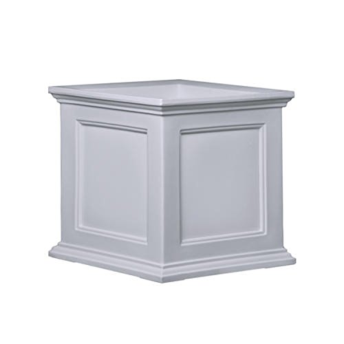 Mayne Fairfield Patio Planter with Recessed Panel Design - Wheather Proof Self Watering Pot- 20 D x 20 W x 20 L (White)