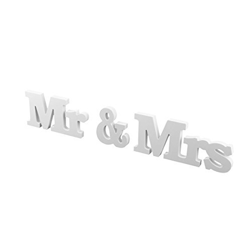 eDealMax Mariage Accueil Mr et Mme Lettre en Bois Alphabet bricolage Dcoration murale 3 en 1 Blanc