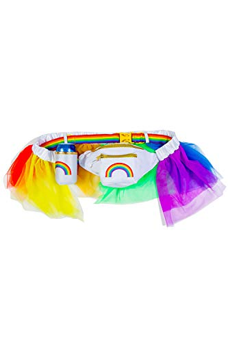 Over The Rainbow Fanny Pack - Colorful Pride Fanny Pack with Rainbow Tutu and Detachable Drink Holder -