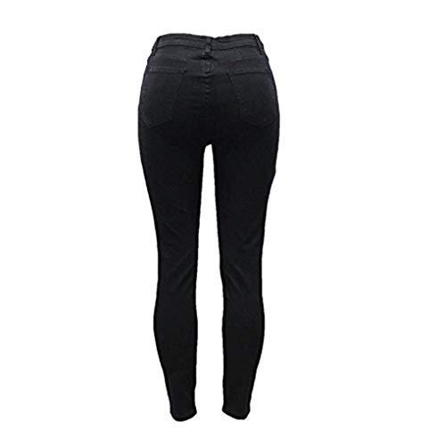 Mujer Alta Pantalones Ropa De Sólido Cintura Botones Vaqueros Schwarz Lápiz Agujeros Adelina Mezclilla Estiramiento Con Bolsillos Color nXtHSxx