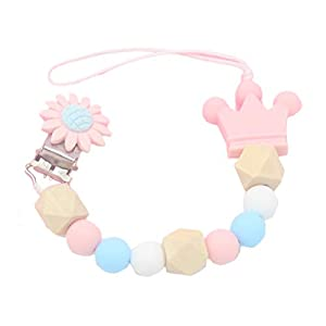 Uyuke Soother Clips, Baby Soother Chain Teething Clip Silicone Soothie Pacifier Chain Baby Pacifier Clip Colorful…