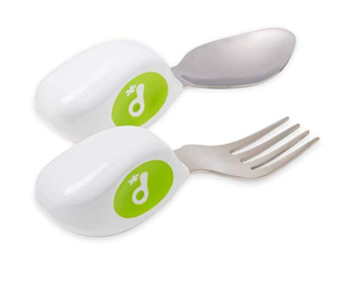 Doddl Cutlery Set for Children, Toddlers & Babies 12 Months +, 2 Piece Spoon & Fork Cutlery Set Ergonomically Designed to Promote Self-Feeding in The Right Way (Lime Green)