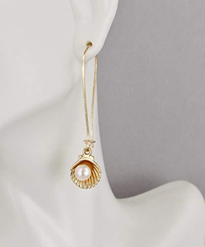 Faux Shell Earrings - Gold sea shell earrings faux pearl oyster shell 2 long dangle earrings R-2501