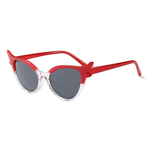 marco Retro Oval Lens Style Eye Cat Resina Mujeres Inlefen Rojo Sunglasses Mod Vintage PUw0W1x