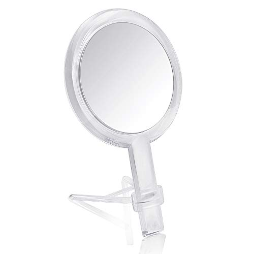 Gotofine 1X & 10X Magnifying Double Side Hand Makeup Mirror with Stand, Handheld Vanity Mirror, Clear
