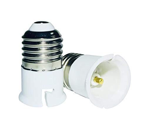 Luminosa E27 a B22 Adaptador de casquillo adaptador para l/ámpara incluye 2 adaptadores, rosca grande Edison para casquillo de bayoneta, adaptador de enchufe de luz LED, adaptador de enchufe, 1 a/ño de garant/ía, certificado CE, clase