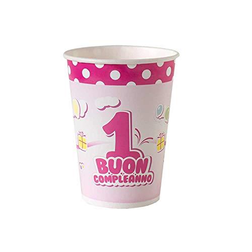 Macedonia Coordinato Buon 1 Compleanno Pois Rosa Set