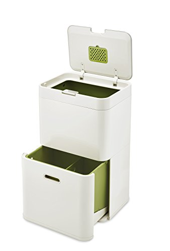 Joseph Joseph 30019 Intelligent Waste Totem Trash Can and Recycler Unit Garbage Can Recycling Bin, 13-gallon, Off-White by Joseph Joseph